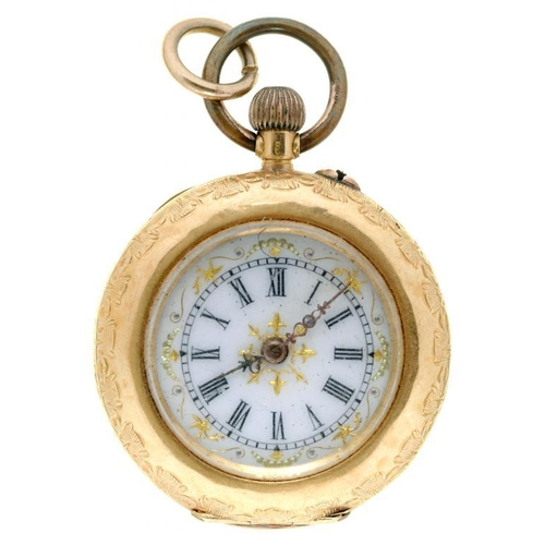 15 - <p>A SWISS GOLD AND POLYCHROME ENAMEL KEYLESS CYLINDER LADY'S WATCH, THE CASE BACK DECORATED WITH 18...