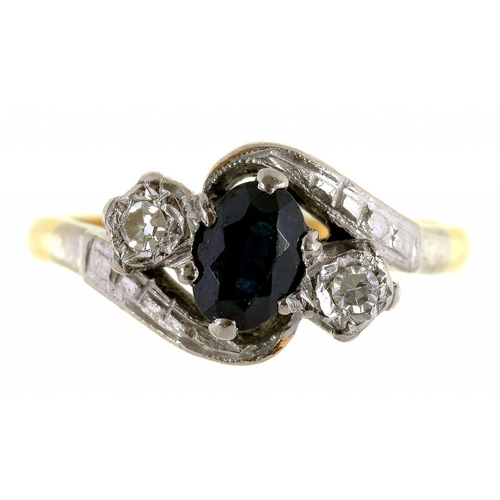 17 - <p>A SAPPHIRE AND DIAMOND CROSSOVER RING, IN 18CT GOLD, 3.9G, SIZE J</p>...