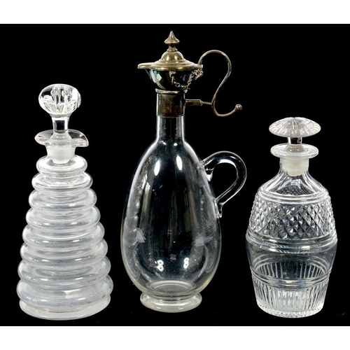 218 - <p>AN UNUSUAL VICTORIAN EPNS MOUNTED GLASS CLARET JUG WITH REMOVABLE LID, 27.5CM H, STAMPED PODR LOZ...