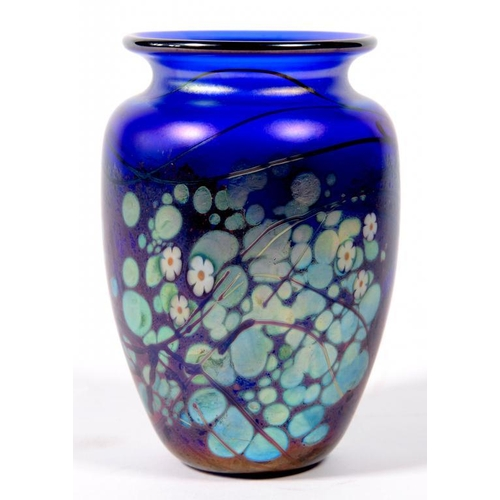 221 - <p>AN OKRA STUDIO GLASS BLUE CHARLOCK VASE, DESIGNED BY RICHARD GOLDING AND MADE BY NICOLA OSBORNE, ...