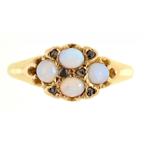 23 - <p>A VICTORIAN OPAL CLUSTER RING, THE FOUR OPALS INTERSPERSED WITH CHIP DIAMONDS, IN 18CT GOLD, BIRM...
