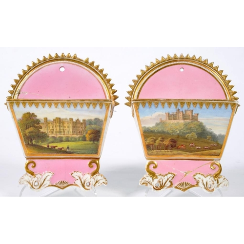 232 - <p>A PAIR OF COALPORT WALL HANGINGS, PINK GROUND CARD RACK, PAINTED WITH COUNTRY HOUSES AND GILT, 15...