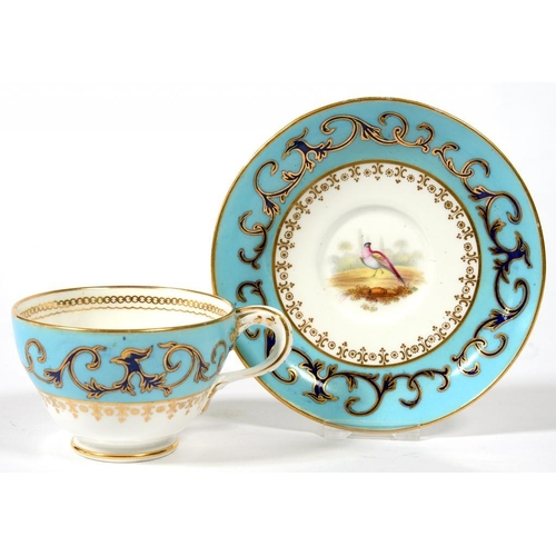 233 - <p>A COALPORT BLUE GROUND TEACUP AND SAUCER, WITH ENTWINED HANDLE, PAINTED PROBABLY BY JOHN RANDALL ...