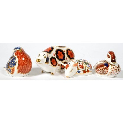 241 - <p>FOUR VARIOUS ROYAL CROWN DERBY ANIMAL PAPERWEIGHTS, VARIOUS SIZES, PRINTED MARK, GILT OR SILVERED...