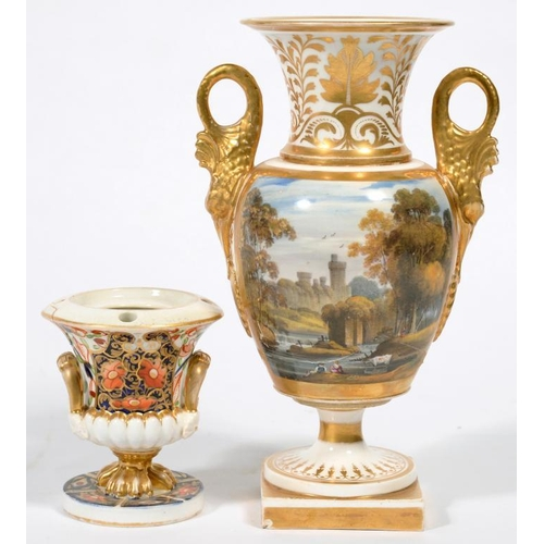 245 - <p>A DERBY TWO HANDLED VASE, PAINTED WITH A LANDSCAPE WITH A CASTLE AND FIGURES ON A RIVERBANK, 21CM...
