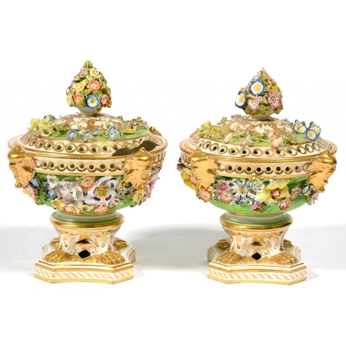 246 - <p>A PAIR OF DERBY FLORAL ENCRUSTED GREEN GROUND POT POURRI VASES AND COVERS, THE RIM OF THE VASE AP...