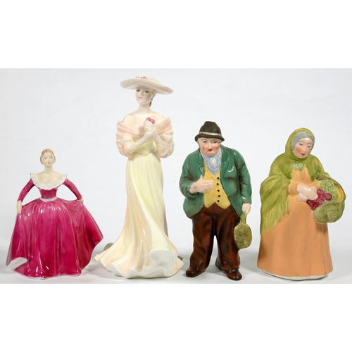 248 - <p>A PAIR OF COALPORT FIGURES OF AN ELDERLY COUPLE, 16CM H AND TWO OTHER COALPORT FIGURES, PRINTED M...