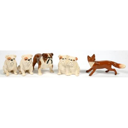 251 - <p>THREE BESWICK BULLDOGS, A GROUP OF BULLDOG PUPPIES AND A BESWICK FOX, VARIOUS SIZES, PRINTED MARK...
