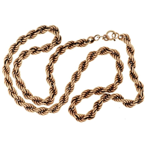 26 - <p>A 9CT GOLD ROPE NECKLACE, 11.5G</p>...