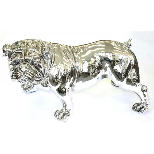 273 - <p>A LIFE SIZED SILVERED RESIN MODEL OF A BULLDOG, IN 'DIAMOND' STUDDED COLLAR, 39CM H</p>...