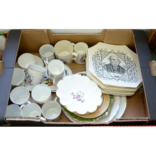 274 - <p>A COLLECTION OF VICTORIAN AND LATER COMMEMORATIVE POTTERY AND PORCELAIN, INCLUDING SEVEN OCTAGONA...