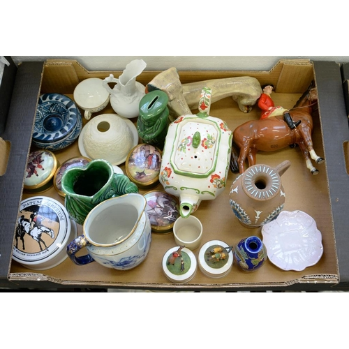278 - <p>MISCELLANEOUS VICTORIAN AND LATER ORNAMENTAL CERAMICS, TO INCLUDE A FLOW BLUE JUG AND A DOULTON S...