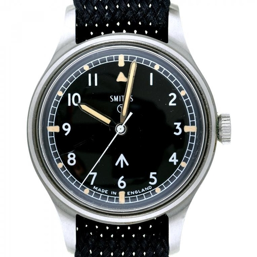 29 - <p>A SMITH'S STAINLESS STEEL BRITISH MILITARY ISSUE WRISTWATCH, CASE BACK MARKED BROAD ARROW, NUMBER...