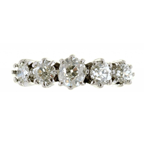 3 - <p>A DIAMOND FIVE STONE RING IN WHITE GOLD, MARKED 18CT & PT, 2.5G, SIZE J</p>...