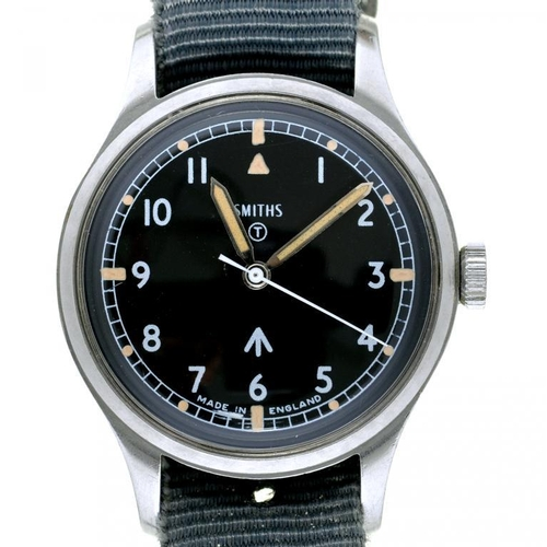 30 - <p>A SMITH'S STAINLESS STEEL BRITISH MILITARY ISSUE WRISTWATCH, CASE BACK MARKED BROAD ARROW, NUMBER...