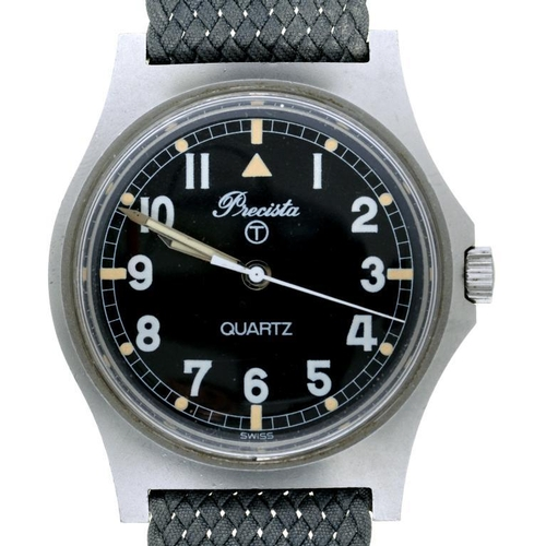 31 - <p>A PRECISTA BRITISH MILITARY ISSUE QUARTZ WRISTWATCH, CASE BACK MARKED BROAD ARROW, NUMBERS AND 29...