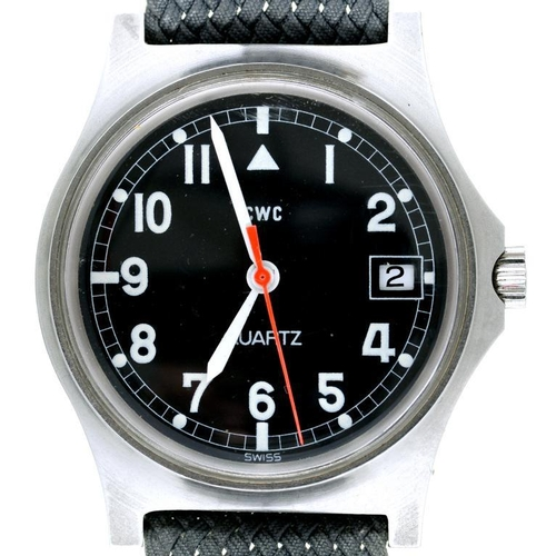 32 - <p>A CWC STAINLESS STEEL BRITISH MILITARY ISSUE QUARTZ WRISTWATCH, CASE BACK MARKED BROAD ARROW, NUM...