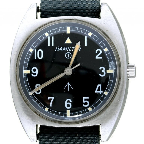 33 - <p>A HAMILTON STAINLESS STEEL BRITISH MILITARY ISSUE WRISTWATCH, CASE BACK MARKED BROAD ARROW, NUMBE...