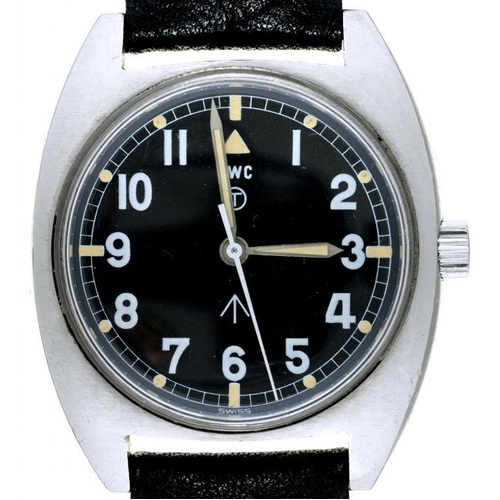 34 - <p>A CWC STAINLESS STEEL BRITISH MILITARY ISSUE WRISTWATCH, CASE BACK MARKED BROAD ARROW, NUMBERS AN...