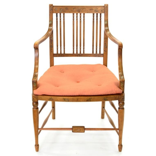 497 - <p>A PAINTED BEECH ELBOW CHAIR, EARLY 20TH C</p>...