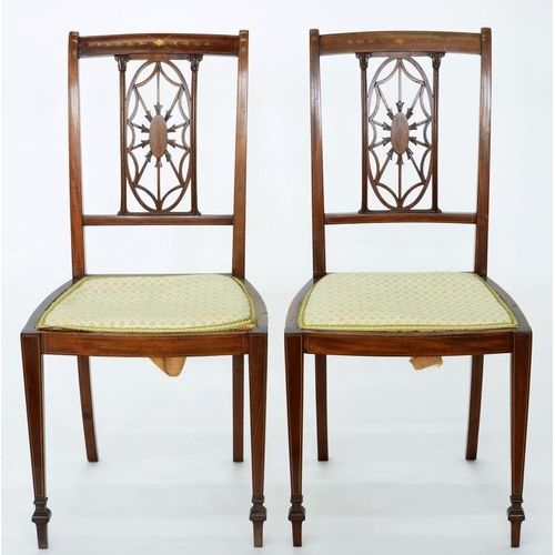 523 - <p>A PAIR OF EDWARDIAN INLAID MAHOGANY CHAIRS ON SQUARE TAPERING LEGS</p>...
