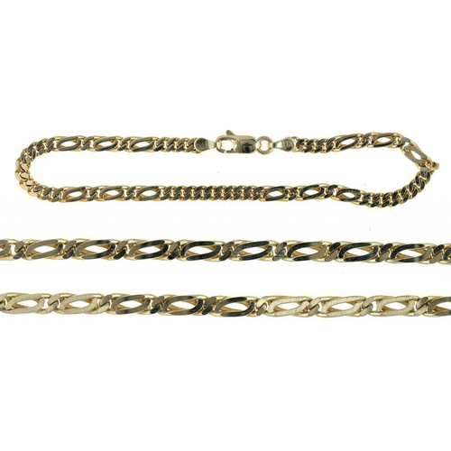 57 - <p>A GOLD BRACELET AND NECKLACE, MARKED 585 OR 14K, 42G</p>...