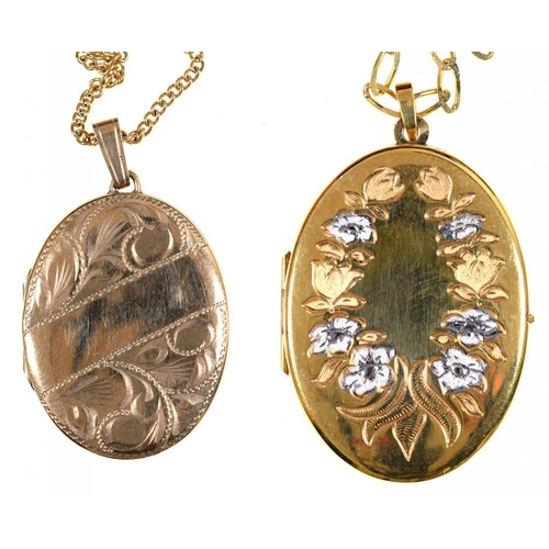 58 - <p>TWO 9CT GOLD LOCKETS AND NECKLETS, 20G</p>...