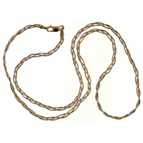 60 - <p>A THREE COLOUR GOLD TWIST NECKLET, MARKED 585, 7G</p>...