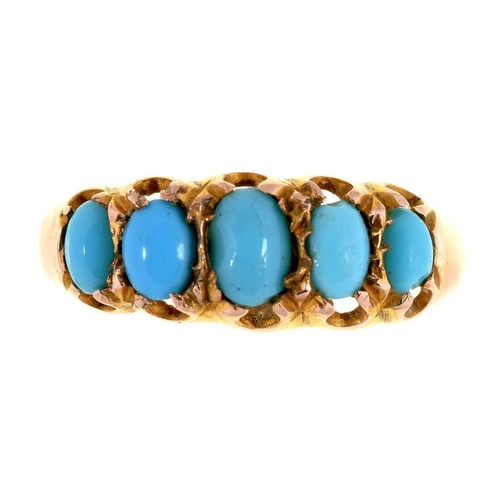 8 - <p>A TURQUOISE FIVE STONE RING, IN 9CT GOLD, CHESTER 1910, 1.4G, SIZE O �</p>...