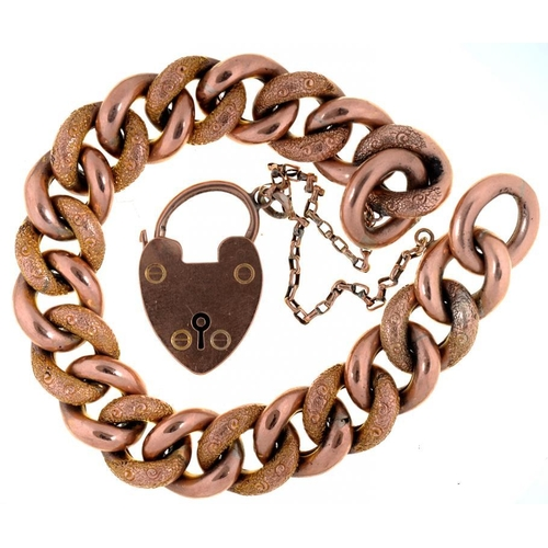 9 - <p>A GOLD CURB BRACELET, LINKS INDIVIDUALLY MARKED 9CT AND A CONTEMPORARY 9CT GOLD PADLOCK, BIRMINGH...