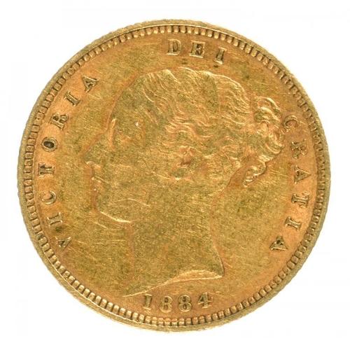 111 - <p>GOLD COIN. HALF SOVEREIGN 1884</p>...