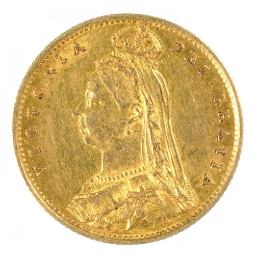 118 - <p>GOLD COIN. HALF SOVEREIGN 1887, SHIELD REVERSE </p>...