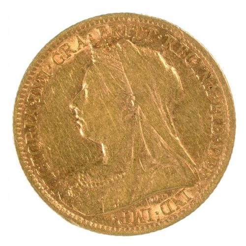 121 - <p>GOLD COIN. HALF SOVEREIGN 1900</p>...