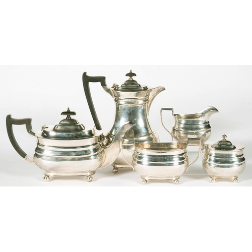 166 - <p>A GEORGE VI SILVER FIVE PIECE TEA SERVICE, OF OBLONG FORM, THE SERVICE INCLUDING A TEA CADDY, LID...