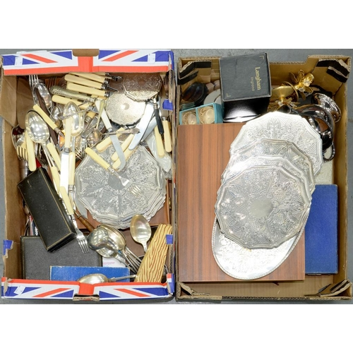 171 - <p>MISCELLANEOUS PLATED WARE, MAINLY FLATWARE, INCLUDING CASED SETS, COASTERS, ETC</p>...