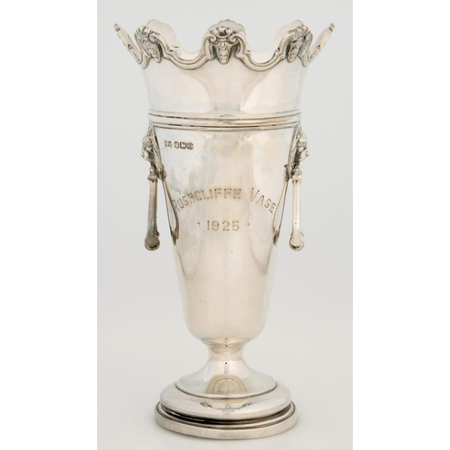 182 - <p>A GEORGE V SILVER VASE, WITH LION MARK AND RING HANDLES, 18CM H, SHEFFIELD 1924 AND A PAIR OF SIL...