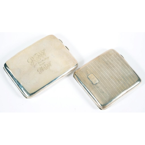 187 - <p>TWO SILVER CIGARETTE CASES, 8.5CM AND 11CM W, BOTH BIRMINGHAM, 1919 AND 1939, 8OZS 3DWTS</p>...