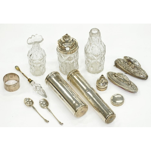 201 - <p>A GRADUATED PAIR OF GEORGE V SILVER CANISTERS AND COVERS FROM A DRESSING CASE, 14 AND 17.5CM H, L...