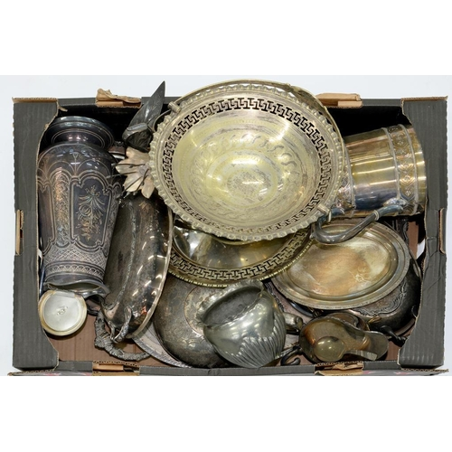 213 - <p>MISCELLANEOUS PLATED WARE, MAINLY LATE 19TH AND EARLY 20TH C, TO INCLUDE TEAPOT WITH MELON KNOP, ...