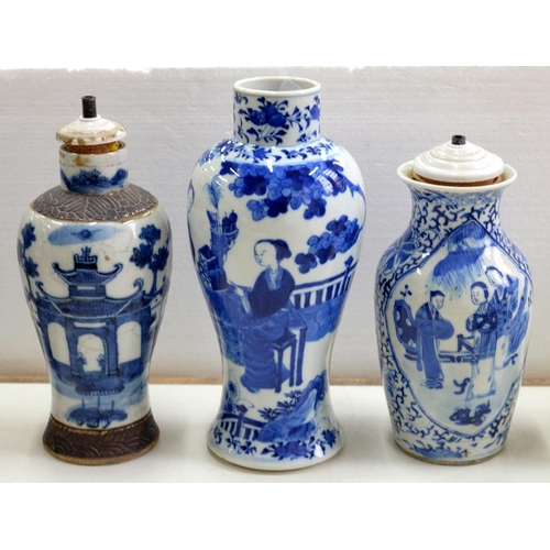 219 - <p>TWO CHINESE BLUE AND WHITE VASES, LARGEST 26CM H, KANGXI MARK AND A CHINESE BLUE AND WHITE CRACKL...
