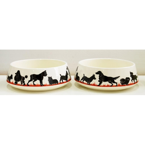 221 - <p>A PAIR OF SPODE EARTHENWARE ALL-IN-ONE DOG BOWLS, 17CM D, PRINTED MARK</p>...