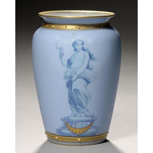 267 - <p>A ROYAL WORCESTER  EGGSHELL BLUE GROUND SHOULDERED OVIFORM VASE, 1868,  painted in blue and turqu...