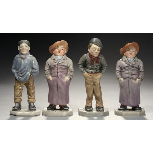 279 - <p>FOUR ROYAL WORCESTER MEN MENU HOLDERS MODELLED, BY JAMES HADLEY, 1874,  comprising Tubby (2), Ruf...