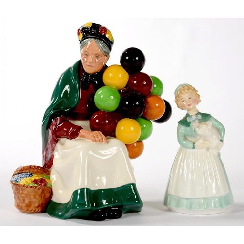 280 - <p>A ROYAL DOULTON EARTHENWARE FIGURE OF THE OLD BALLOON SELLER AND A ROYAL DOULTON BONE CHINA FIGUR...