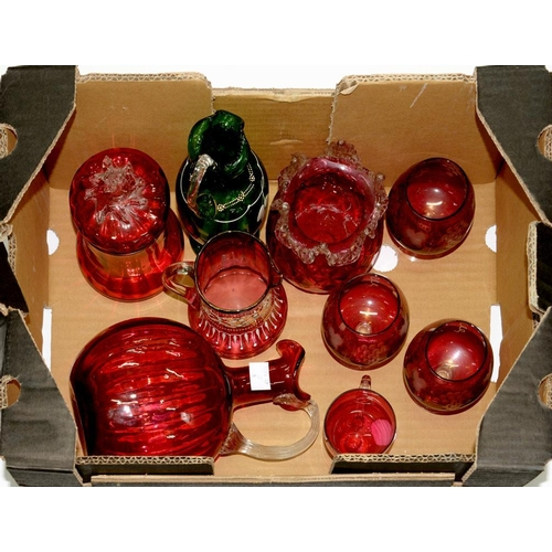 285 - <p>A SMALL COLLECTION OF VICTORIAN CRANBERRY GLASSWARE AND A GREEN GLASS AND WHITE ENAMEL DECORATED ...