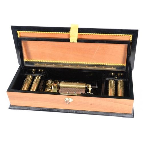 320 - <p>A THORENS INTERCHANGEABLE FIVE CYLINDER MUSICAL BOX, IN WALNUT AND EBONISED CASE, THE LID DECORAT...