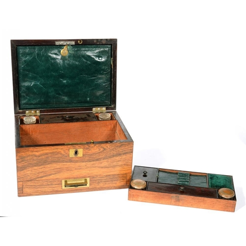 333 - <p>A VICTORIAN ROSEWOOD DRESSING CASE WITH FITTED INTERIOR AND JEWEL DRAWER, 28CM W</p>...