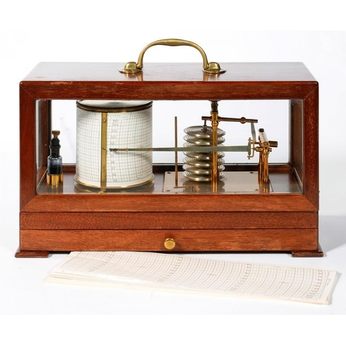 336 - <p>A MAHOGANY BAROGRAPH, BY JOHN DAVIS AND SON (DERBY) LIMITED, WITH LACQUERED BRASS RECORDING MECHA...