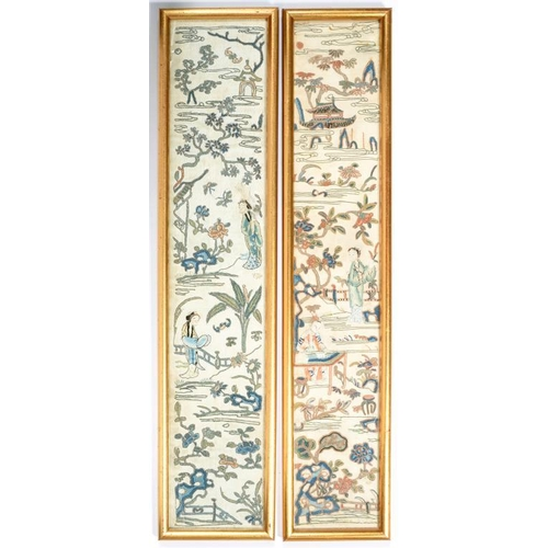 337 - <p>TWO CHINESE EMBROIDERED SILK SLEEVE BANDS, 9 X 49.5CM, FRAMED</p>...