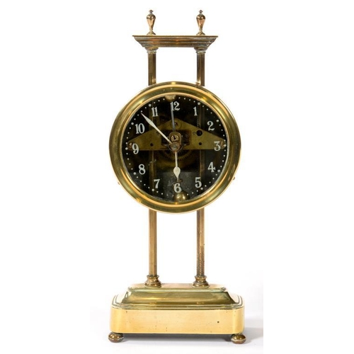 345 - <p>A LATE 19TH C BRASS GRAVITY DRIVEN TIMEPIECE, 26CM H</p>...
